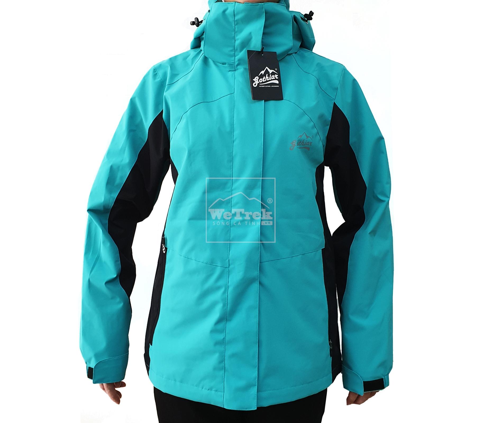 Áo khoác gió nữ 2 lớp Gothiar 2L jacket - Xanh Ngọc 9108